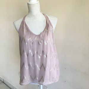 Beige/ pink tank with gold strips